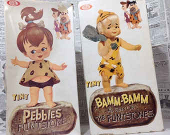 Vintage Ideal Toy  Tiny Pebbles and Bam Bam Dolls