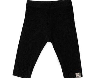 Plain black baby, bamboo rayon leggings