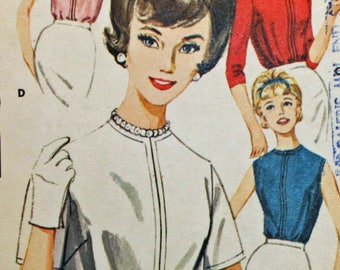 """Butterick 2396, Vintage 1960s, Sewing Pattern, Misses' Back Buttoned Blouse, Misses' Size 14, Bust 34, OLD2NEWMEMORIES"""""""