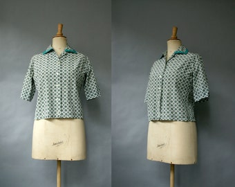 1960s Green Paisley Blouse