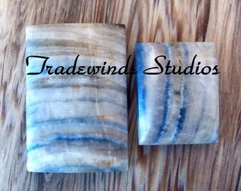 Pair of Lapis Lace Onyx Cabochons