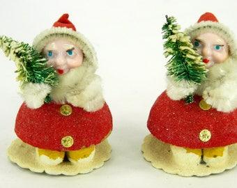 red white mica covered cardboard santa elf elves vintage christmas - Santa And Christmas 2