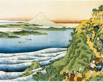 Mount Fuji With Snow, Japanese Repro Woodblock, Fine Art Picture Painting, Mountain, Japanese Print By Katsushika Hokusai A3 A4