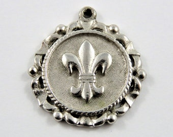 Encircled French Fleur-De-Lys Sterling Silver Pendant or Charm.