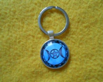 Blue triple moon goddess key chain