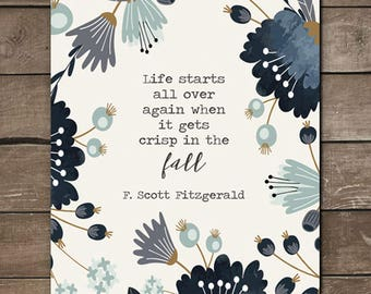 F. Scott Fitzgerald Fall Print, Wall print