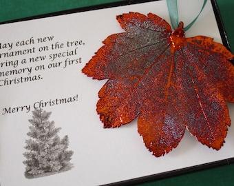 Leaf Ornament Copper, Real Leaf Maple, Maple Leaf Extra Large, Ornament Gift, Christmas Card, Copper Leaf, Tree Ornament, Wedding, ORNA62