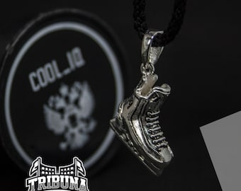 Hockey Skates Pendant 925 Sterling Silver - Custom Initial Add on Necklace Personalized Handmade Jewelry - Men Women Athletic Accessories