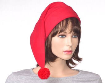 Bright Red Stocking Cap Adult Fleece Hat Long  Christmas Elf Hat Solid Red Santa Hat
