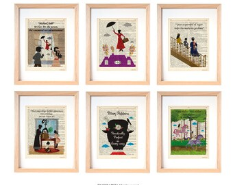 Mary Poppins set of 6 art prints-Mary Poppins dictionary print-children wall art-nursery prints-gift idea-wall art-custom art print-DP242