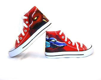 Hand painted dragon head shoes, Womens