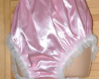 Sissy DOUBLE satin slithery comfort posing panties in baby pink....silky pantie fun, nappy covers too maybe? - Sissy Lingerie