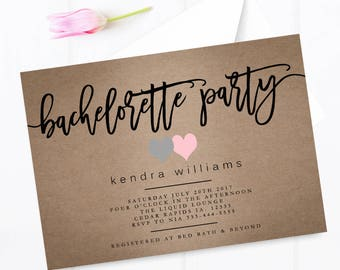 Kraft paper bachelorette party invitation, two heart bachelorette party invitation, girls night out bachelorette party