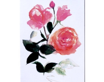 Floral Hand Painted Card, Greetings card, Rose Print. Flowers. Red Rose. Watercolour. Blank Card, Gift Voucher. Painted Rose. Botanical