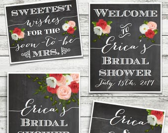 Rustic Floral Shower Signs