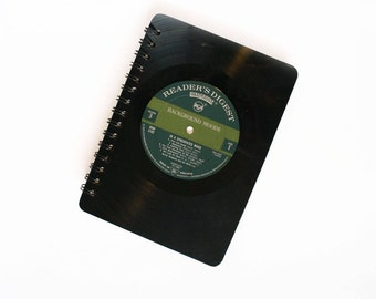 Vinyl Notebook | A5 | Record Notepad | Green Jotter | Readers Digest
