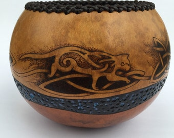 Celtic Running Cat pyrography wood burned carved Gourd bowl