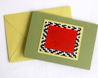 Buffalo Gift Card Handmade Blank Notecard Southwestern Bison Note Card Western Stationery
