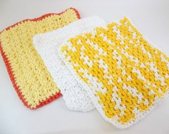 Crochet Dish Cloths Yellow and White  Cotton Wash Cloths Set of 3