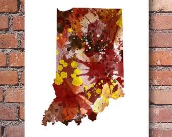 Indiana Map - Abstract Watercolor Art Print - Wall Decor