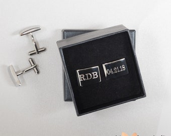 Personalized Cufflinks, Custom Engraved Stainless Steel Cufflinks, Wedding Cuff Links Personalized, Groom Cufflinks, Father of the Bride