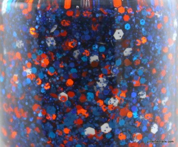 Gridiron - blue and orange glitter nail polish denver broncos colors Team Spirit 5 free nail polish handmade indie nail polish vegan
