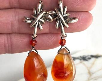 Signed Sterling Silver Carnelian Dangle Earrings, Carnelian Earrings, Dangle Earrings, Statement Earrings, Orange Stone Earrings, Carnelian