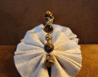 Tiger's Eye14K Rolled Gold Bangle Bracelet