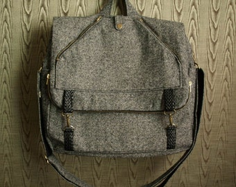 tweed messenger backpack- mens womens carry on computer travel bag with adjustable convertible strap
