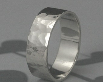 7mm Flat Edge Wedding Band--Your choice of ONE in Solid 14K Yellow, White, or Rose Gold--Custom made in YOUR size