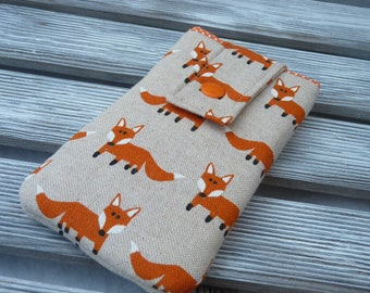 Iphone 8 pouch fox, iPhone 7 sleeve, iPhone 7 case, iPhone 6s cover, Padded iphone 6 case, Protective  iphone 7 Pouch , foxes phone pouch