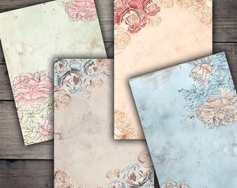 Floral Backgrounds Digital Collage Sheet Printables