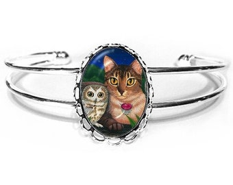 Abyssinian Cat Bracelet Saw Whet Owls Cat Painting Silver Fantasy Cat Art Cameo Bracelet 25x18mm Gift for Cat Lovers Jewelry
