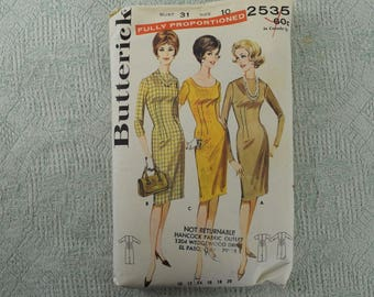 Butterick Sewing Pattern 2535 Sheath dress from the 1960s size 10