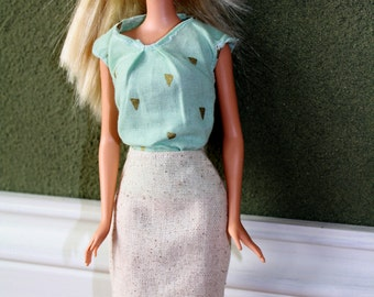"Teal Cap Sleeve Blouse with Neck Pleats and Gold Triangle Print for 11.5"" Fashion Doll [Top Only]"