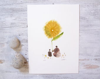 small abstract painting, sunflower art, abstract mother and child art, mother and daughter son, minimalist bohemian flower, ORIGINAL artwork