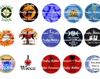 """Wicca, Wiccan, Pagan, Pentagram and more 1"""" Bottle Cap Digital Image - 4x6 1 inch Digital Collage sheet"""