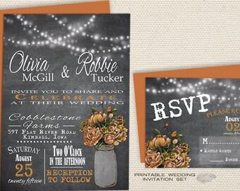 Rustic Chalkboard Wedding Invitation | Fall Wedding Invitation Orange Peonies in Mason Jar w/ String Lights  | Printable DIY