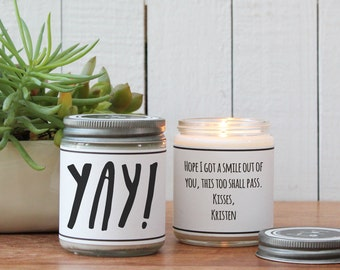 Yay! Soy Candle Gift - Candle Greeting - Celebration Gift | Graduation Gift | Celebrate Card | Graduation Card | Graduation Gift