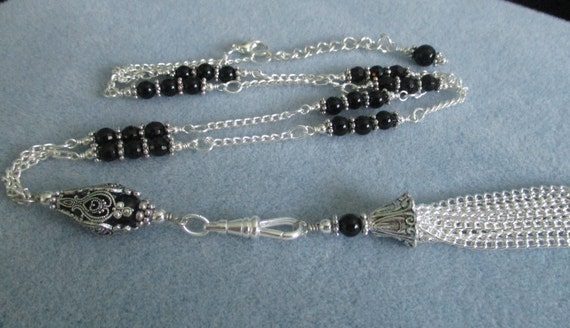 Black Onyx Pendant Lanyard With Detachable Tassel L6151745