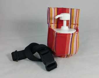 Massage Therapy 4 oz cream jar couch hip holster, upcycled woven candy stripes, black belt