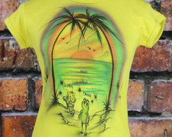 Tropical Sunset Airbrush Art Vintage 1970s T-Shirt