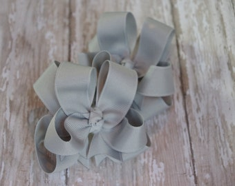 """Girls Hair Bows Silver Boutique 3"""" Double Layer Hairbows Set of 2 Pigtail Bows"""