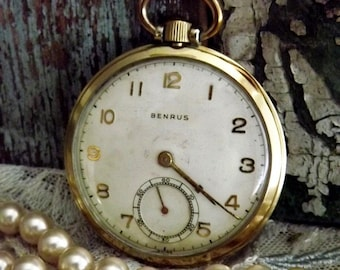 Antique Benrus Pocket Watch by avintageobsession on etsy...20% Discount