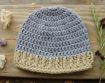 Blue Crochet Beanie with Beige Cabled Brim - Adult Crochet Hat