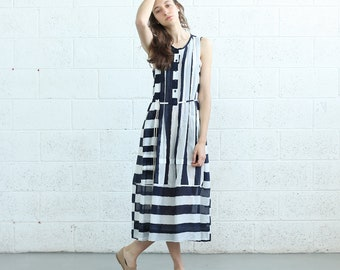 Plaid maxi stripe dress , Easy Summer stripe dress, Blue&white.