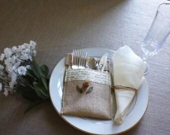 Banquet Dinnerware Holder Flatware Holder Silverware Holder Shabby Chic Holder