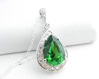 Bridesmaid Proposal Jewelry Gift, Dark Moss Green Swarovski Teardrop Necklace, Bridesmaid Statement Necklace, Bridesmaid Jewelry Ideas