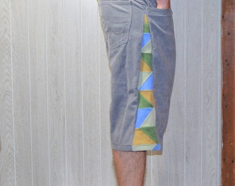 Patchwork Corduroy Shorts Brown Blue Hippie Handmade Festival Heady Upcycled Mens 34