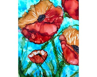 Alcohol Ink Art.  Alcohol Ink Painting.  Original Art.  PoppiesXXV